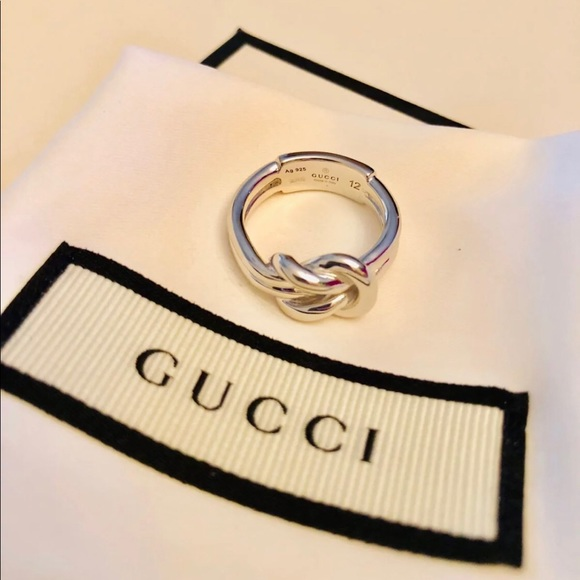 5acd8212af714 New Gucci Sterling Silver Piccolo Knot Ring Sz 6 NWT